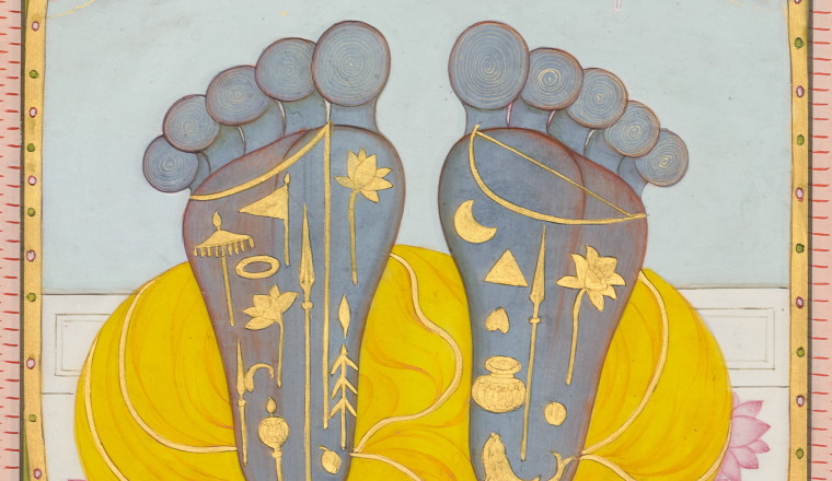 "<div class=""title""><em>Vishnu's feet as objects of worship</em></div><div class=""year""> Kangra, c. 1810–20</div><div class=""medium"">Opaque pigments with gold on paper</div><div class=""dimensions"">Painting 16.7 × 11 cm Folio 19.8 × 14.1 cm</div>"