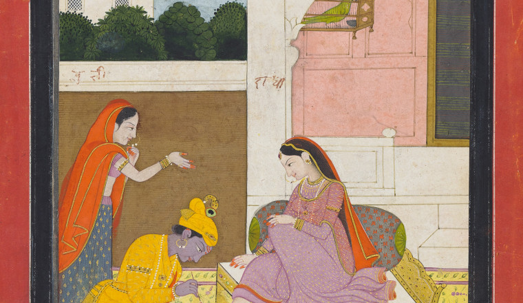 "<div class=""title""><em>Krishna paints Radha's toenails red; The Svadhinapatika nayika from a Rasikapriya series</em></div><div class=""year""> Kangra, c, 1800</div><div class=""medium"">Opaque pigments with gold and silver on paper</div><div class=""dimensions"">Painting 23 × 14.3 cm Folio 30 × 21.3 cm</div>"