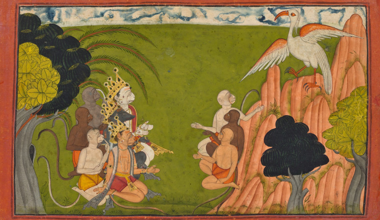 "<div class=""title""><em>Sampati announces his presence to the fasting Monkeys</em></div><div class=""year""> Mankot, 1720–30</div><div class=""medium"">Opaque pigments, gold and silver on paper</div><div class=""dimensions"">Folio 20.7 x 31.3 cm; painting 16.7 x 28 cm</div>"