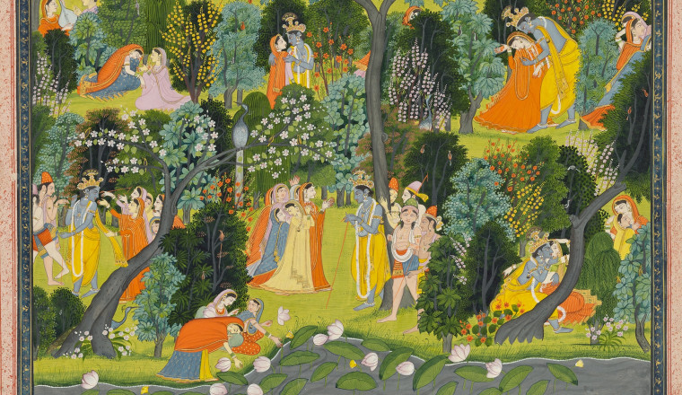 "<div class=""title""><em>Krishna makes love to the Wives of the Cowherds of Brindaban, Page from the 'Lambagraon' Gitagovinda</em></div><div class=""year""> Attributed to the artist Purkhu and workshop, Kangra, c. 1820</div><div class=""medium"">Opaque pigments and gold on paper</div><div class=""dimensions"">Folio 27.7 x 36.6 cm; painting 23 x 32.5 cm</div>"