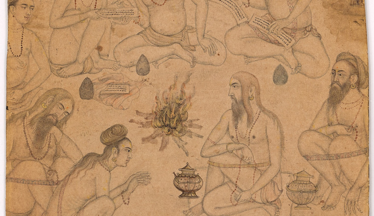 "<div class=""title""><em>Yogis round a Fire</em></div><div class=""year""> By the Mughal artist Sankar, c. 1600</div><div class=""medium"">Brush drawing in brown ink with touches of watercolour heightened with gold on paper</div><div class=""dimensions"">Drawing 14 x 11 cm</div>"