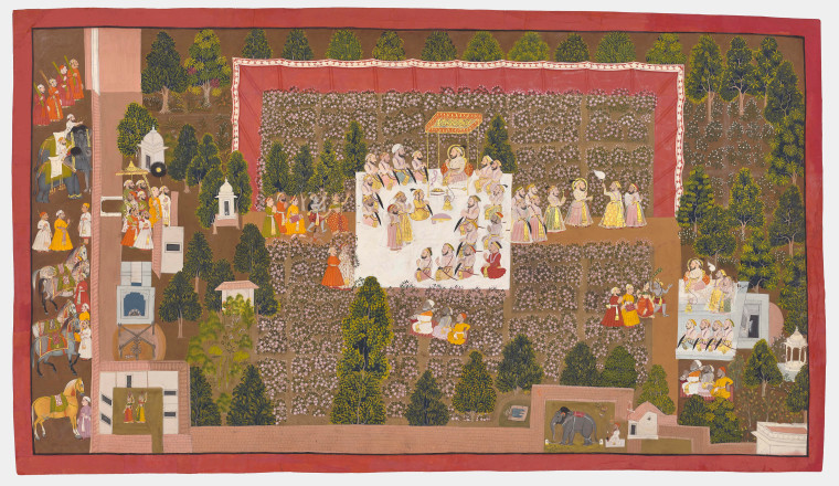 """<div class=""""title""""><em>Maharana Sangram Singh celebrating the spring festival with his nobles in the rose garden in Udaipur</em></div><div class=""""year""""> Udaipur, 1715–20</div><div class=""""medium"""">Opaque pigments and gold on paper</div><div class=""""dimensions"""">Folio: 51 × 89 cm; Painting: 46.5 × 85 cm</div>"""