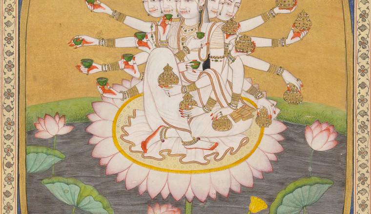 "<div class=""title""><em>The Goddess Resplendent</em></div><div class=""year""> Kangra, c. 1810–20</div><div class=""medium"">Opaque pigments and gold on paper</div><div class=""dimensions"">Folio: 25.4 × 18.5 cm; Painting: 19 × 12.8 cm</div>"