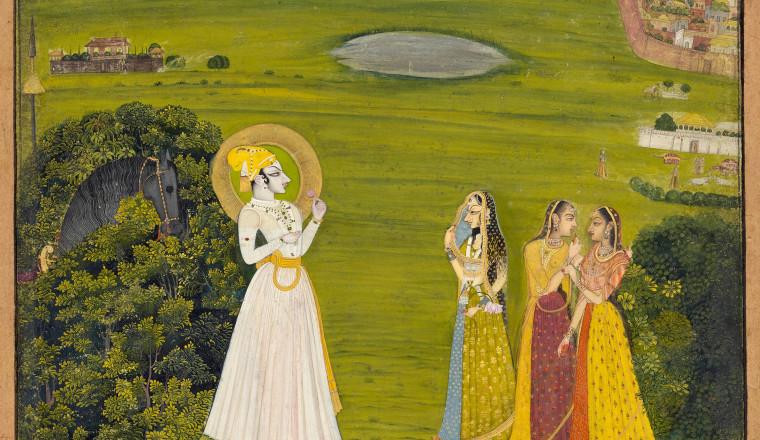 <em>Krishna and Radha at an assignation in a landscape</em>, Kishangarh, c. 1770