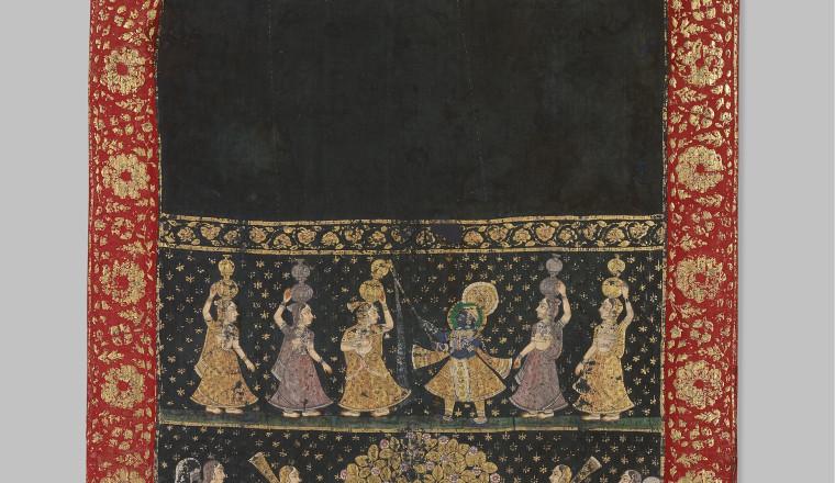 "<div class=""title""><em>Khandpaat</em></div><div class=""year""> Deccan, 1800–1850</div><div class=""medium"">Cotton, painted with gold and pigments, including copper acetate arsenate<br />212 × 110 cm</div>"