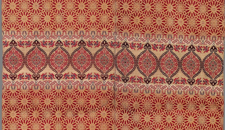 """<div class=""""title""""><em>Hanging or curtain</em></div><div class=""""year""""> Morocco, Fez or Tetouan, early to mid-19th century</div><div class=""""medium"""">Two loom widths woven in silk lampas, some bands woven with metal thread (silver lamela wrapped around a silk core)<br />251 × 131.5 cm<br /><br /></div>"""