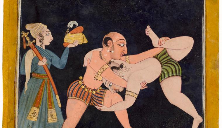 "<div class=""title""><em>Two men wrestling - Ragaputra Malava, son of Sri Raga, Page from the 'Tandan' Ragamala</em></div><div class=""year""> Basohli, c. 1710</div><div class=""medium"">Opaque pigments and gold on paper</div><div class=""dimensions"">Folio 20.6 x 19.4 cm; painting 16.8 x 16.1 cm</div>"