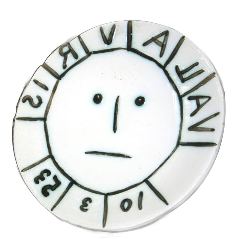 """""""AR 179 - Vallauris"""" white earthenware clay ceramic plate by artist Pablo Picasso"""