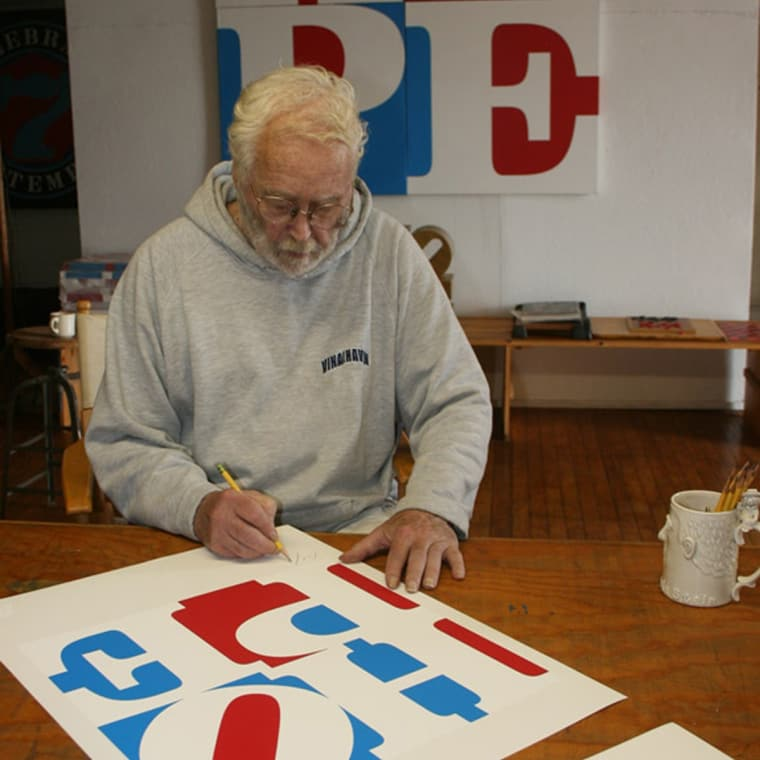 Robert Indiana signing HOPE