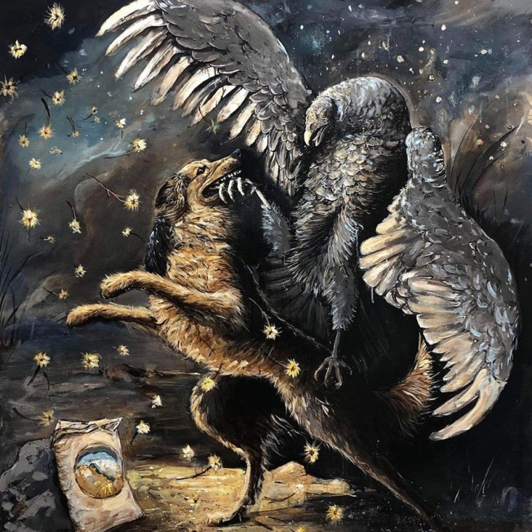 Rez Dog Fights Turkey Vulture to Protect Fry Bread, Acrylic on Canvas, 66 x 60 in, 2019.