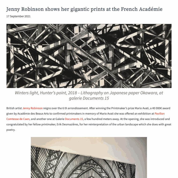 Jenny Robinson shows her gigantic prints at the French Académie