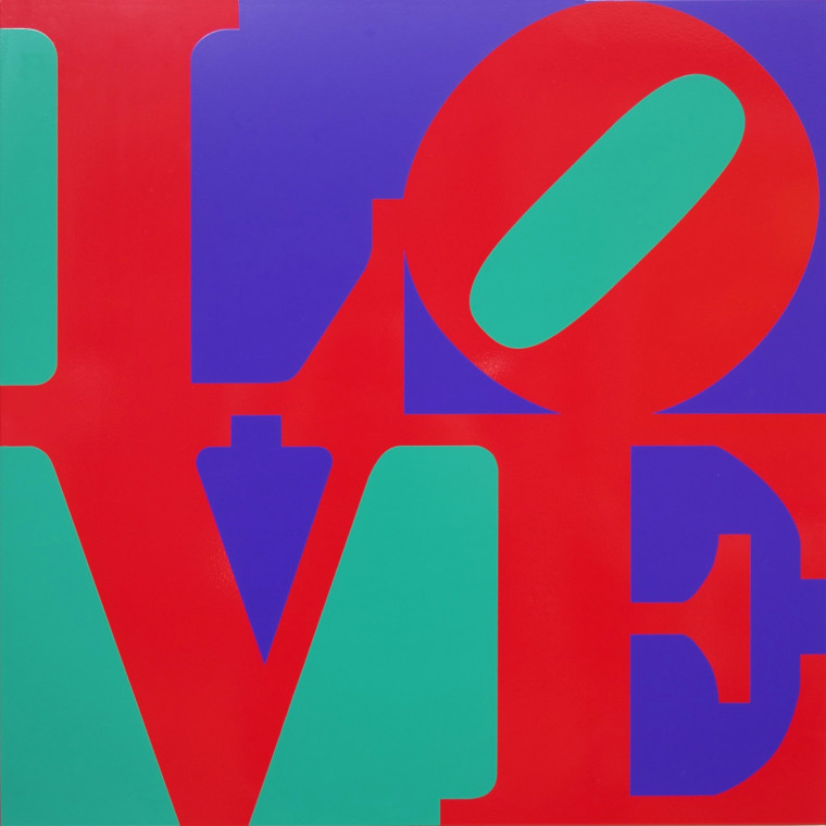 ROBERT INDIANA, Book of LOVE (Red/Blue/Green), 1996, Silkscreen powder coated fabricated aluminum, 26 x 26 x 2 inches (66 x 66 x 5.1 cm), Edition of V