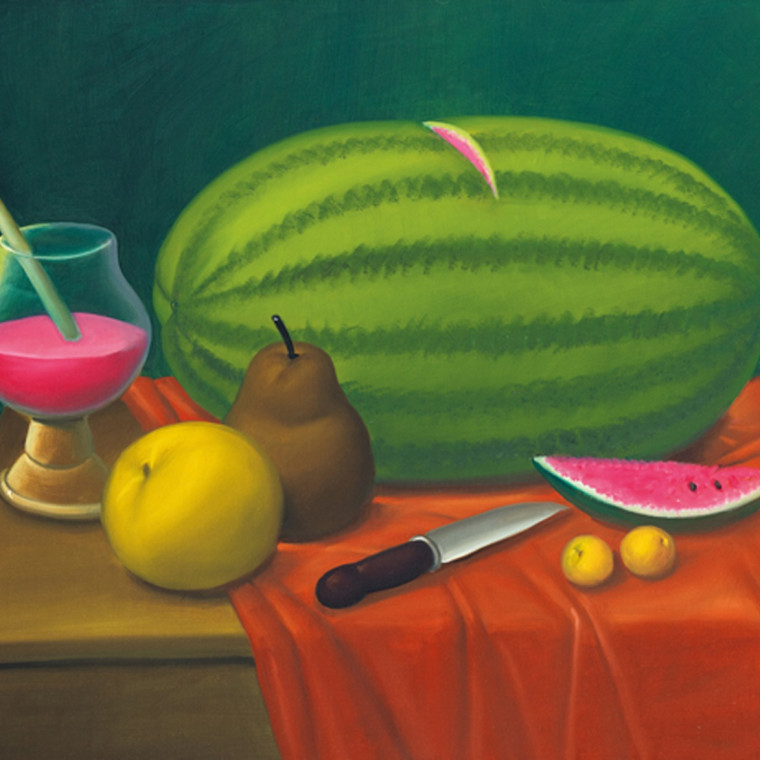 FERNANDO BOTERO, Still Life With Fruits, 2003, Oil on canvas, 30 3/4 x 39 inches (78.1 x 99.1 cm)