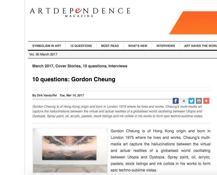 Gordon Cheung interview in ArtDependence
