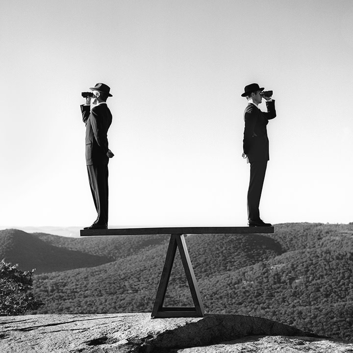 Rodney Smith, Two Men on Sea-Saw no. 2, Bear Mountain, New York, 2000