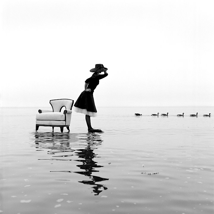 Rodney Smith, Zoe on Water With Ducks, Sherwood Island, Westport, Connecticut, 2004