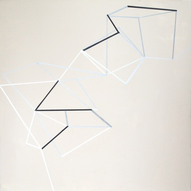 """Gudrun Mertes-Frady's """"Constellation"""" made with oil and metallic pigments on linen in shades of gray, white and blue. The work as the title suggests as a constellation but with cubical effects, makes it resemble a geometry problem."""