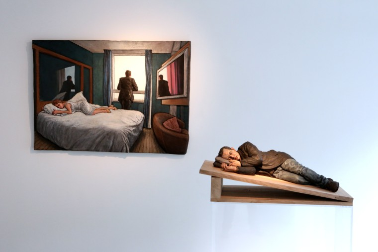 Sleeping sculpture in Belgium, Solo show at LKFF Art & Sculpture Projects, Brussels, Belgium