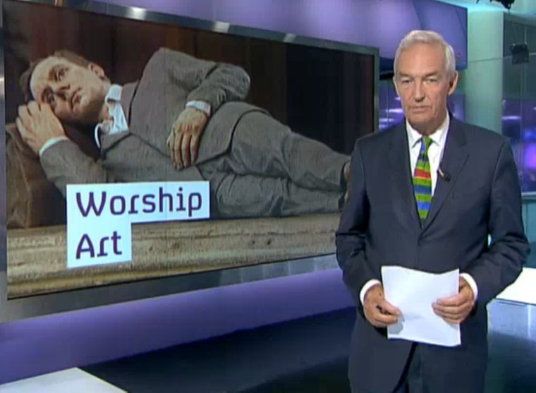 Channel 4 News, Sean Henry's 'Conflux' at Salisbury Cathedral, 2011