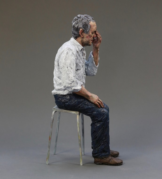 Untitled (Man on a stool) Signed 'SH 9/9' under the seat Limited edition 9 of 9 Bronze sculpture with oil paint, 2010 42 x 12 x 21cm, 16 x 5 x 8in