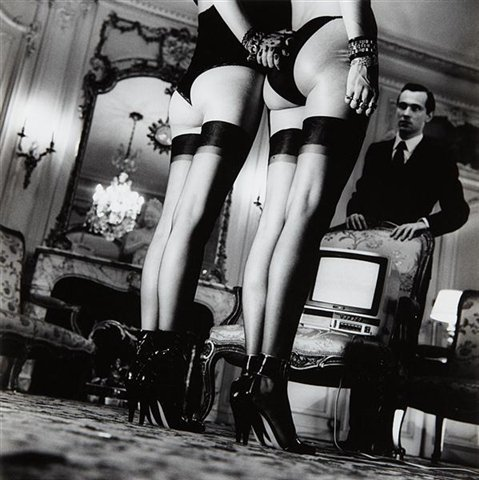 <p>Two Pairs of Legs in Black Stockings, Paris, 1979</p><p>Oversized gelatin silver print</p><p>39 x 39 in.</p><p>© Helmut Newton</p>