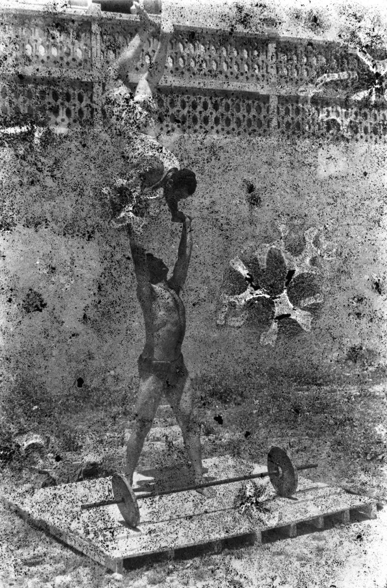 Bodybuilders Printed From A Damaged Negative Showing Mahmoud El Dimassy Holding Fadl Kobeissy In Saida, 1948