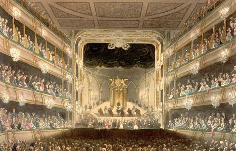 Covent Garden Theatre as drawn by Augustus Pugin and Thomas Rowlandson, engraving 1808