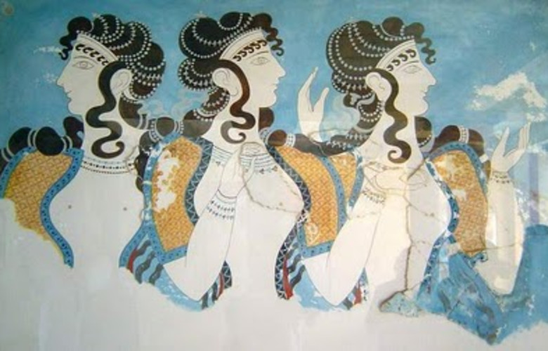 Restored fresco of three women from Knossos
