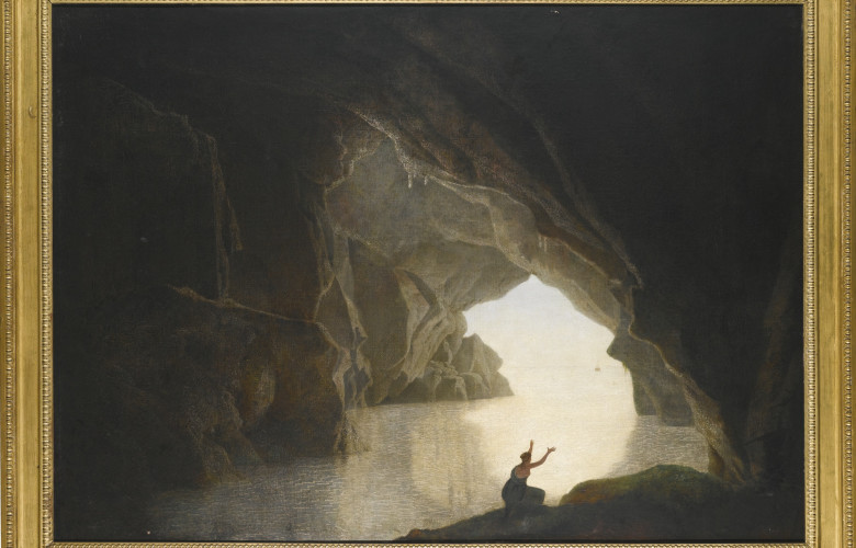 Joseph Wright of Derby, A.R.A. DERBY 1734 - 1797, A GROTTO IN THE GULF OF SALERNO, WITH THE FIGURE OF JULIA, BANISHED FROM ROME