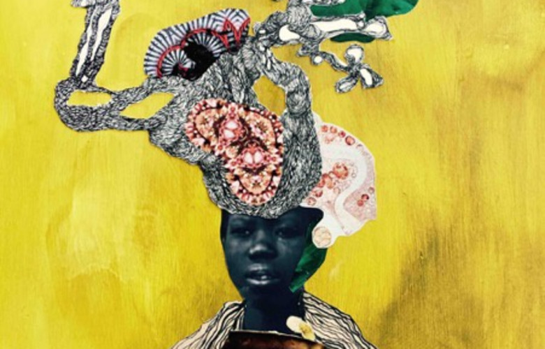Kenyatta Hinkle, The Officer's Bride, 2016, india ink, paper on wood panel, 24 x 18
