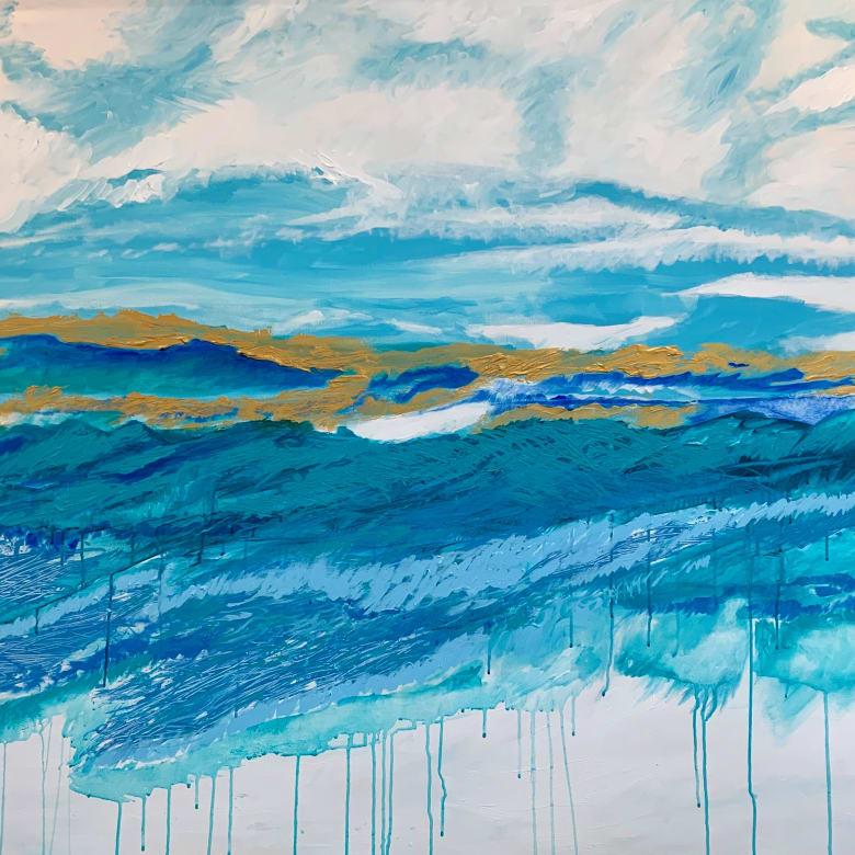 Camilla Webster  Kintsugi Turquoise, 2019  Acrylic on canvas  48 x 78