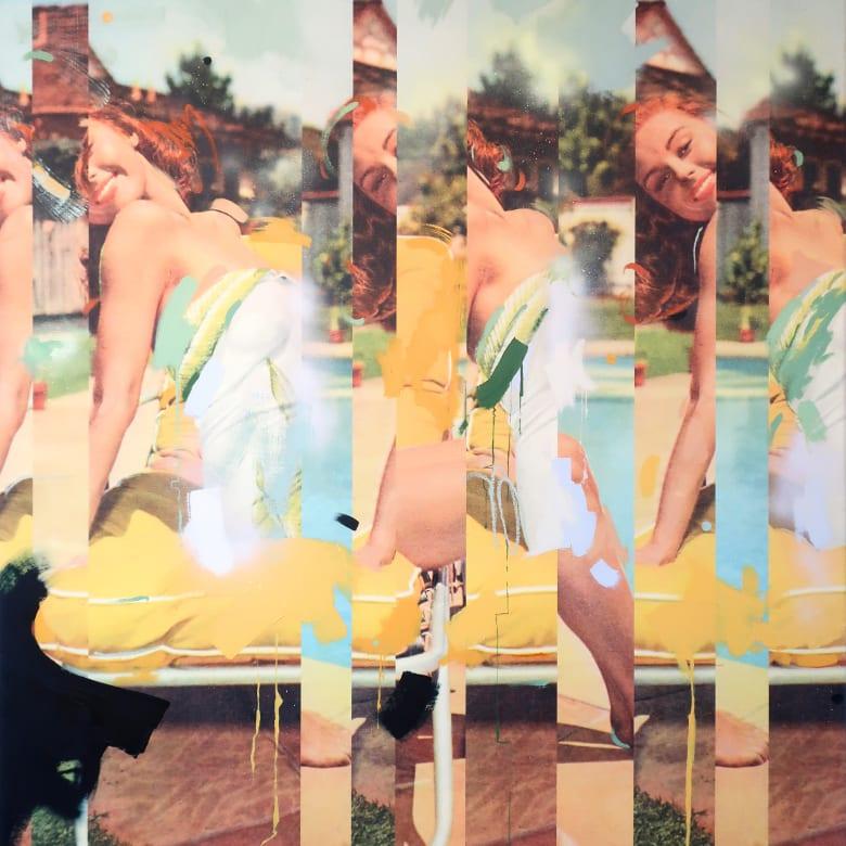 Lizzie Gill  Miami Ready, 2017  oil, image transfer, & acrylic on canvas  60 x 48 x 1 in. / 152 x 122 x 2.54 cm