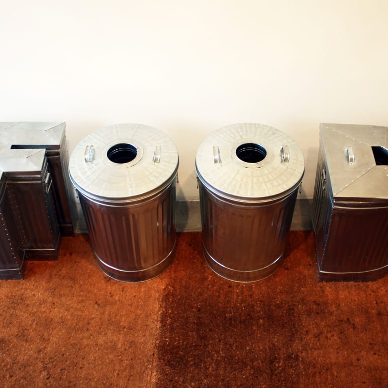 Nancy Dwyer, FOOD, 2012. Reconfigured galvanized metal trash cans in four parts; 42 x 72 x 35 in; 106.7 x 182.9 x 88.9 cm