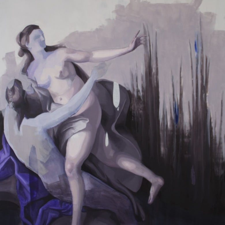 Tomas Harker  Nymph and Satyr  52 x 137 cm
