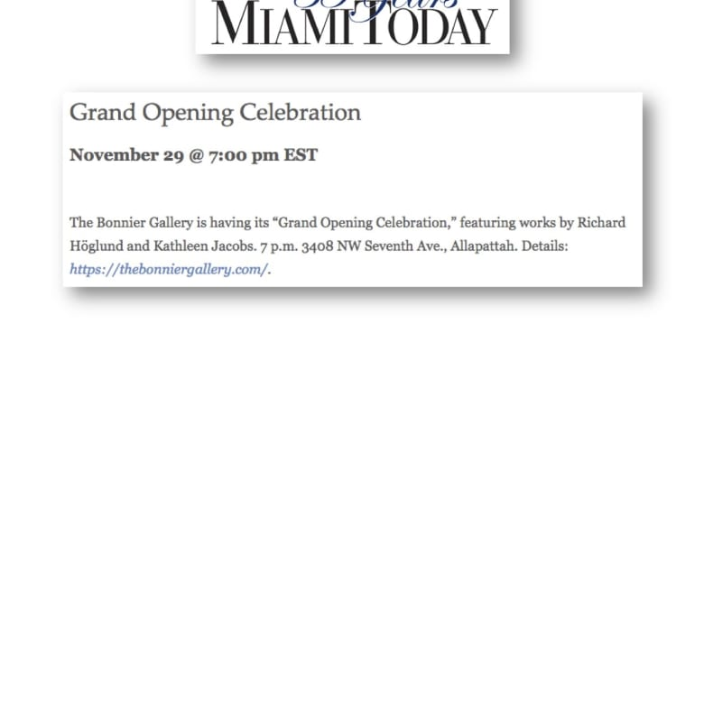 "The Bonnier Gallery is having its ""Grand Opening Celebration"""