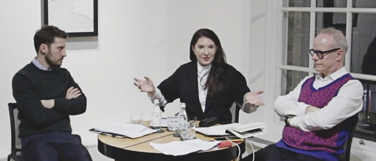Marina Abramović, Hans-Ulrich Obrist and Yuval Etgar discussing the work of Gino De Dominicis at Luxembourg & Dayan, London, 27th November 2017.  Photo: Claudia Leisinger.