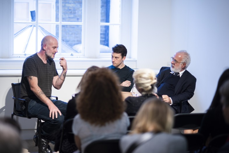 Jake Chapman, Yuval Etgar and Francesco Bonami in conversation at Luxembourg & Dayan, London, 2nd October 2018.  Photo: Chris King.