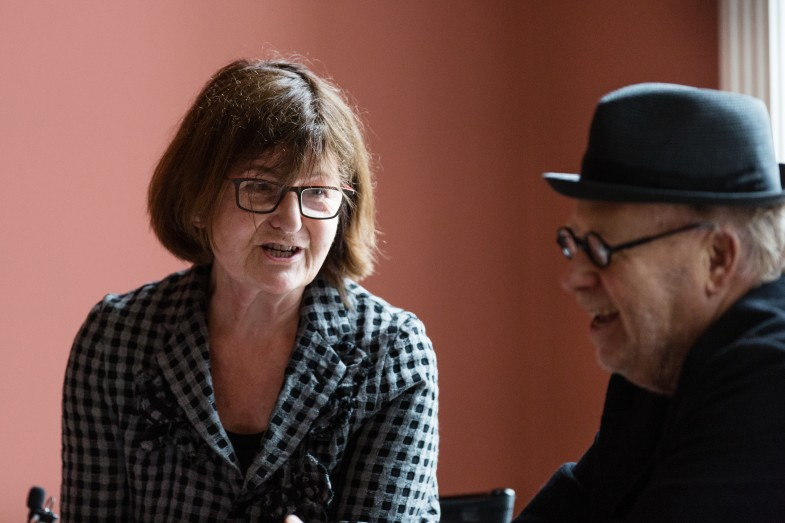 Sarah Whitfield and Joseph Kosuth in conversation at Luxembourg & Dayan, London.  Photo: Claudia Leisinger
