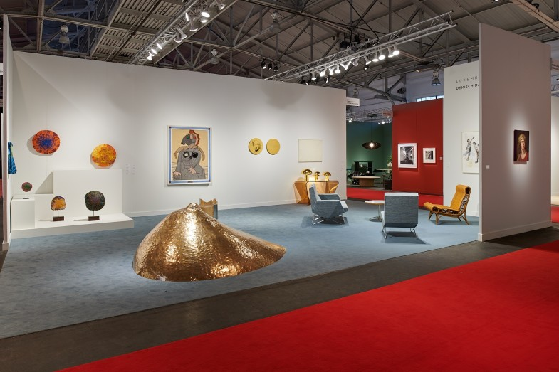 Installation view of Booth 203 at FOG Design+Art, January 16–19, 2020, San Francisco.  Courtesy of Luxembourg & Dayan, New York and London, and Demisch Danant, New York.  Photo: Glen Cheriton, Impart Photography.