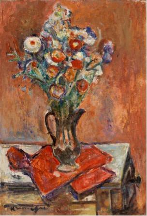 Pinchus Kremegne, Bouquet on the Red Tablecloth, 1950