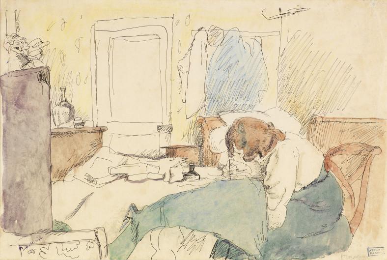 Jules Pascin, Hermine Drawing, 1908