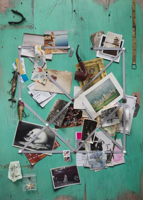 Vik Muniz Handmade: Letter rack (Acqua and grey ribbon), 2017