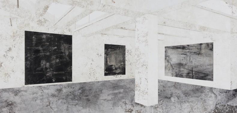 Daniel Senise Nahmad Contemporary - NY I, 2018 monotipia de piso de cimento em tecido, médium acrílico e carvão 150 x 300 cm
