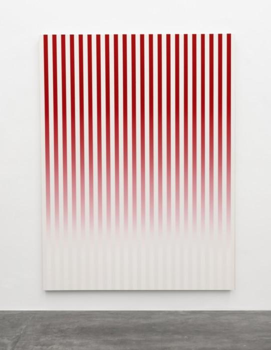 Philippe Decrauzat Slow Motion Red # 1 2019 tinta acrílica sobre tela 200 x 150 x 4,5 cm