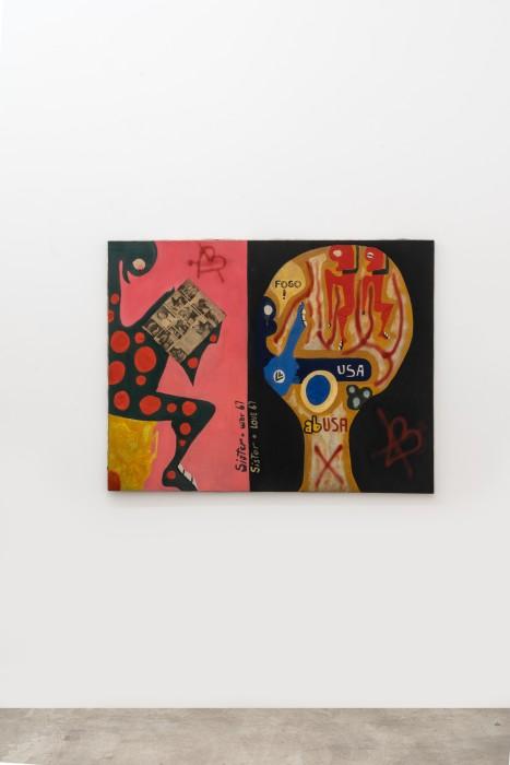 Sérgio Sister Sem título, 1967 spray, colagem, costura e tinta acrílica sobre tela 89 x 116 cm