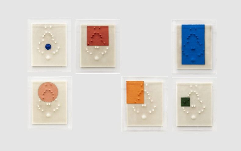 Carlito Carvalhosa Sem título (P41/19), 2019 tinta óleo e cera sobre madeira 6 peças de 50 x 40 x 6 cm (cada)