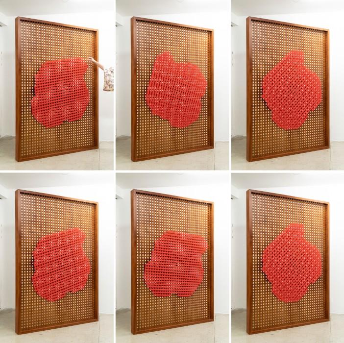 Lucia Koch Trabalho noturno, 2019 madeira caxeta maciça e metal 190 x 130 x 22 cm