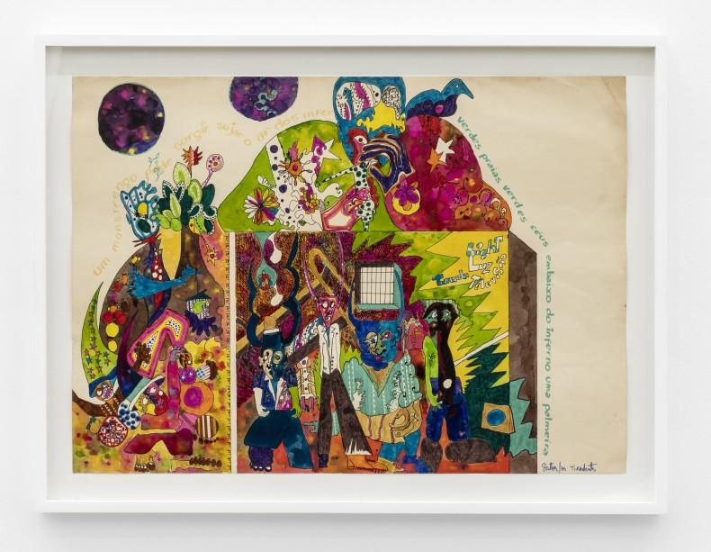 Sérgio Sister Sem título, 1970 tinta ecoline, lápis, giz pastel oleoso e caneta hidrográfica sobre papel 50 x 70 cm