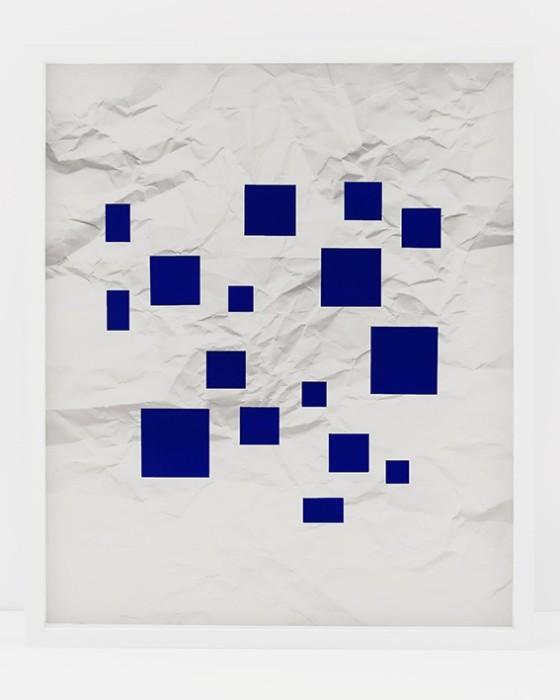 vik muniz Handmade: Sem título (Crumpled paper ultramarine Blue Squares), 2016