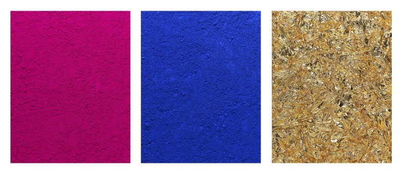 vik muniz pictures of pigment: monochrome, pink-blue-gold, after yves klein, 2016